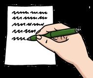 Leichte Sprache Bild: Jemand schreibt etwas mit einem Stift auf ein Blatt Papier